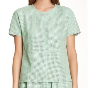 RACHEL ZOE // Leather Perforated Top 4 mint green